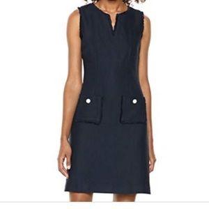 Karl Lagerfeld tweed shift dress w pearl buttons